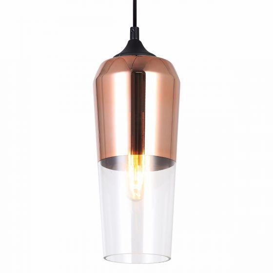 Lampada Premmio Small Copper & Glass Shade Pendant Light