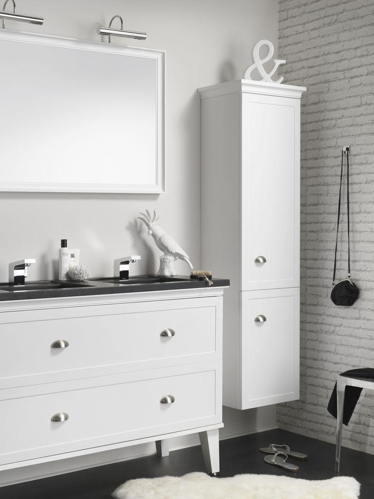 Canto wastafelonderkast + kolomkast + spiegelpaneel. Kleur: wit