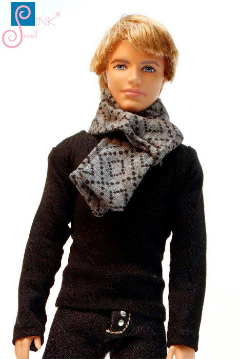Ken clothes scarf: Andrew by Pinkscroll on Etsy