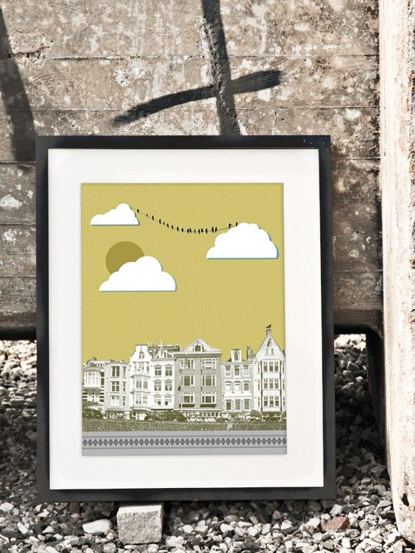 Yellow city - 30x40 cm art print  by Scandinavian Caro-lines - Nordic Design Collective