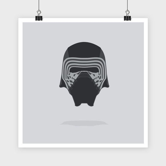 Custom made Kylo Ren Helmet illustration. Hand drawn and vectorized. Printed on thick, quality matte stock to ensure the print lasts. Ships FREE to