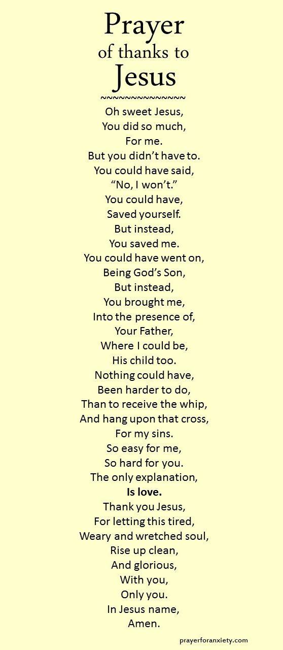 Prayer of thanks to Jesus