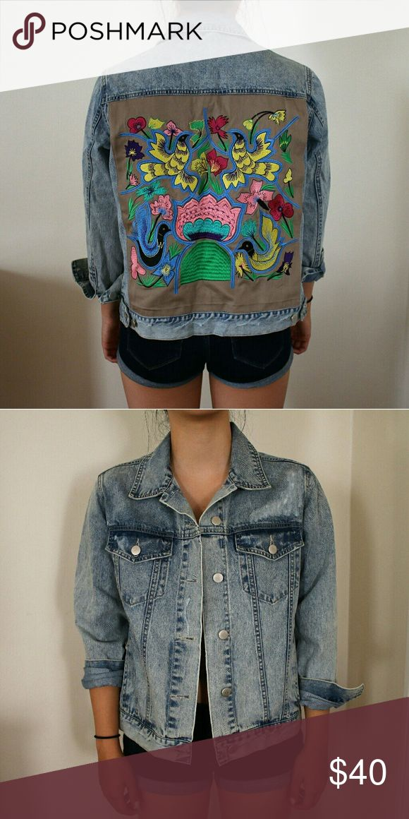 Native Rose hummingbird denim jacket Vintage wash denim with an embroidered back design  Only worn once! Urban Outfitters Jackets & Coats Jean Jackets
