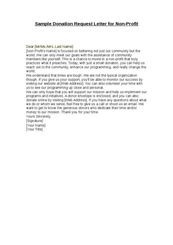 Sample Donation Request Letter For Non Profit template Pinterest