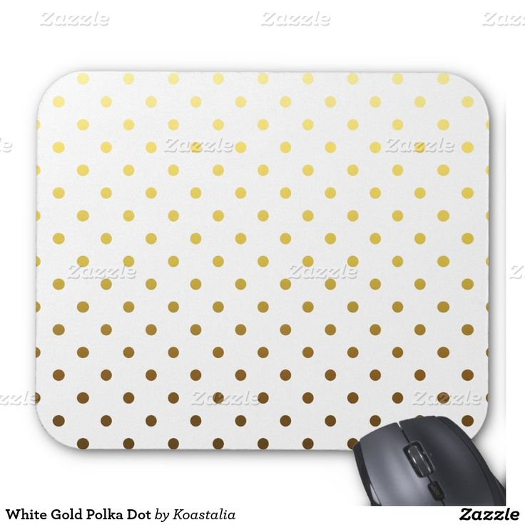 White Gold Polka Dot Mouse Pad