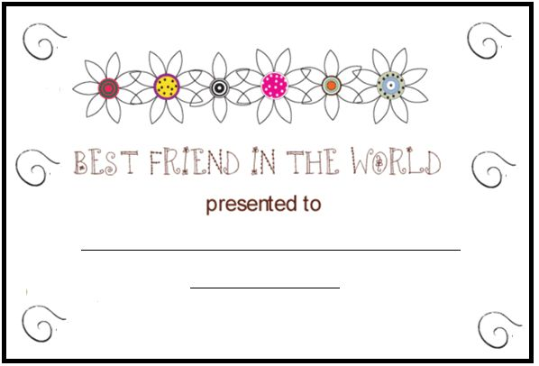 bff certificate printable - Google Search | Quote coloring ...