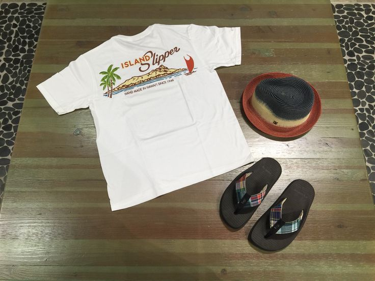 Shirt, slippahs and a hat. Shop the complete look at our Ala Moana Center store! #islandslipper #noshirtnoshoesnoproblem #hat #tshirt