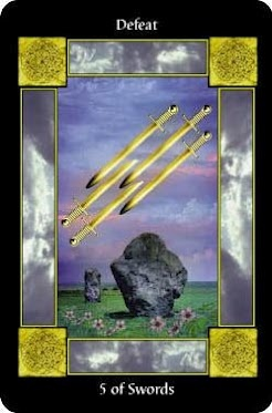 There's a little bit of drama in the air when you see the #5ofswords in your #dailytarot.  This card suggests that at this time, it may be best to leave well enough alone or to take the moral high ground, as issues or memories of disrespect, abuse, cheating or trickery may be lying right below the surface.