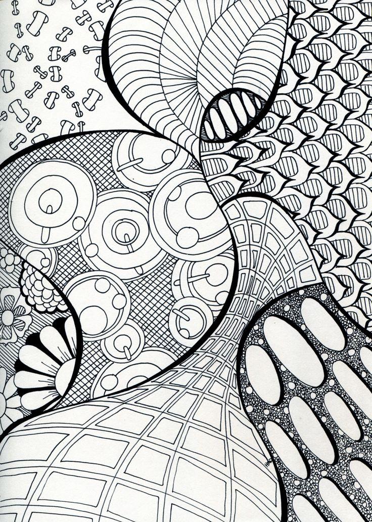 Doodle art pattern illustration black and white