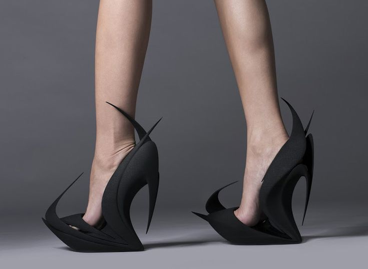 zaha hadid flames 3D printed shoes by united nude and 3D systems at milan design week 2015