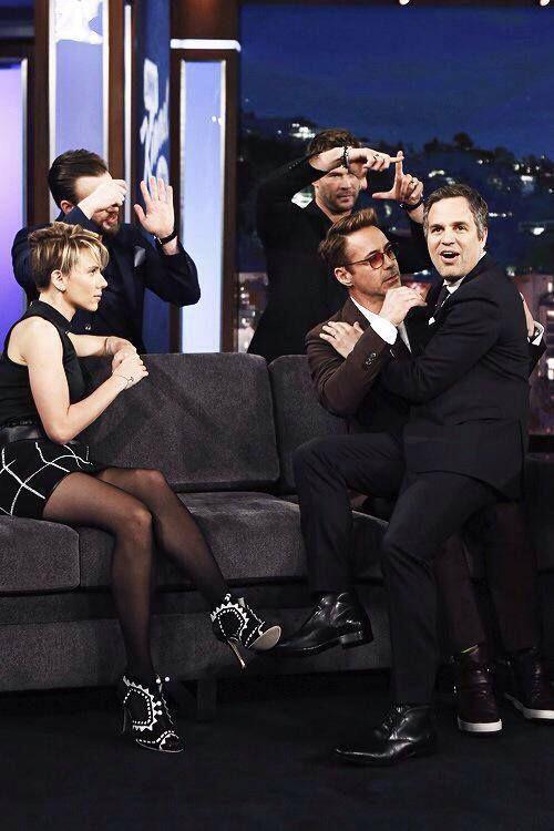 The cast of the Avengers Age of Ultron on Jimmy Kimmel live! Chris Evans Scarlett Johansson Chris Hemsworth Jeremy Renner Mark Ruffalo and Robert Downey Jr - Robert Downey Jr and Mark Ruffalo acting out fan fiction lol