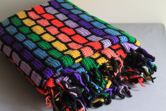 vintage colorful crochet afghan