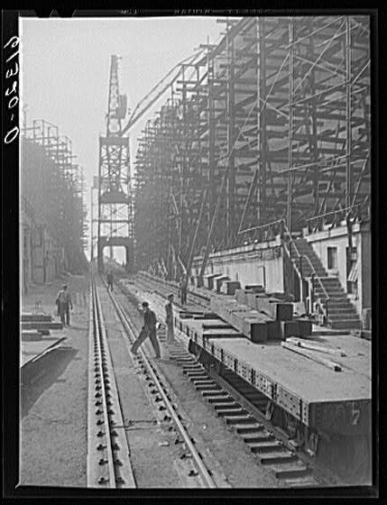 Shipyards at Bethlehem steel mill. Sparrows Point, Maryland