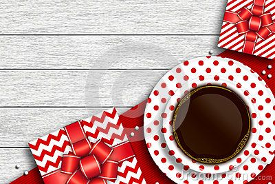 Presents with cup of coffee and place for text over wooden desk