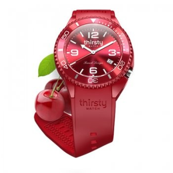 A fabulous twist a watch in a bottle, almost good enough to eat. This Thirsty Watch contains a very clear round cherry red dial with arabic and baton hour markers, uni-directional red bezel, date window, a red plastic case attached to a red silicone strap. These Thirsty Watches have a quartz movement, which is water resistant to 50m. Model Ref:TH-CHERRY £57.50