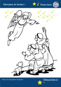 De herders, Jezus geboren in de stal, kleurplaat kerst, kleuteridee