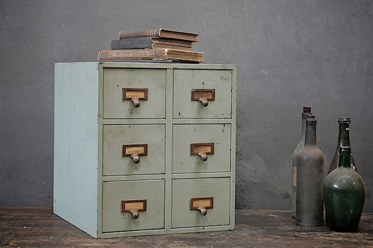 USA, 1940s, Vintage Industrial Sextet File System Cabinet, All Steel Construction, Pale Green Time Worn Finish. Solid Brass Hardware.