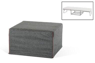 Modern Steel Frame Grey Fabric Ottoman Sofa Bed