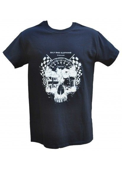 Oily Rag Motorcycle T-Shirt Skull & Ton-Up Speedo Classic Retro Biker Tee Size M