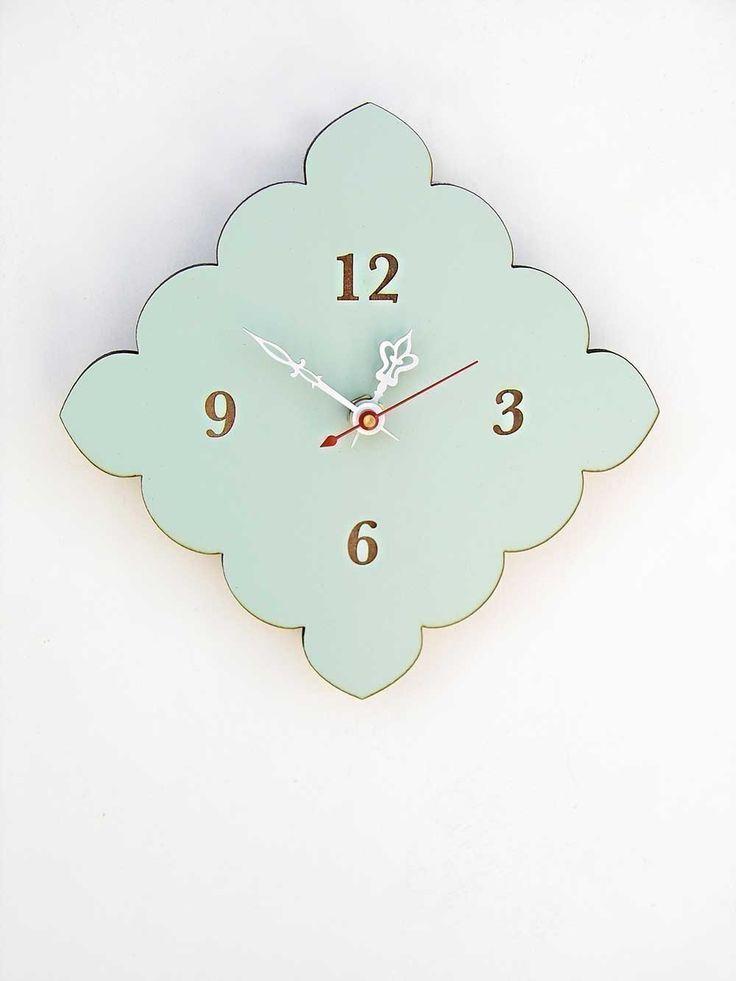 tiny scallop clock - kitchen clock - bathroom clock - vintage blue, red, birch. $36.00, via Etsy.