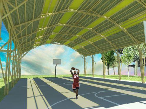 Cubierta para cancha | bambuterra   Cubierta con estructura de bambú guadua para cancha de basquet ball. #proyectos #projects #bamboo #bambú #arquitectura #architecture #sustentable #sustainable #cancha #field #cubierta #cover #México #Bambuterra
