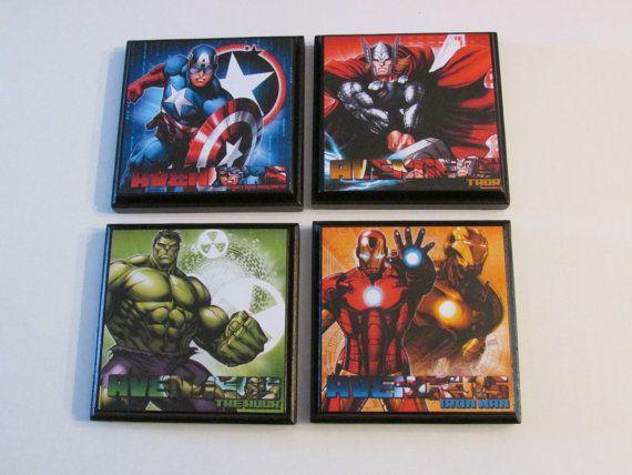 Avengers Room Wall Plaques - Set of 4 Avengers Boys Room Decor - Captain America Hulk Iron Man Thor Wall Signs