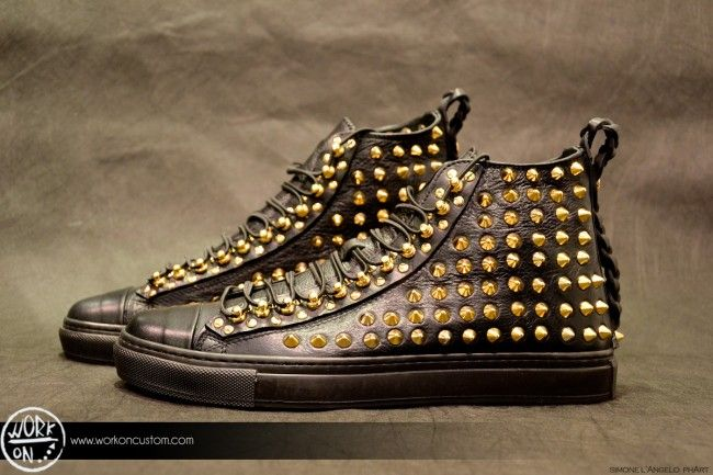 Work_On leather shoes - #leather #shoes #custom #studs #sneakers #workon #fashion #handmade #madeinitaly - www.workoncustom.com -mod. Riddle