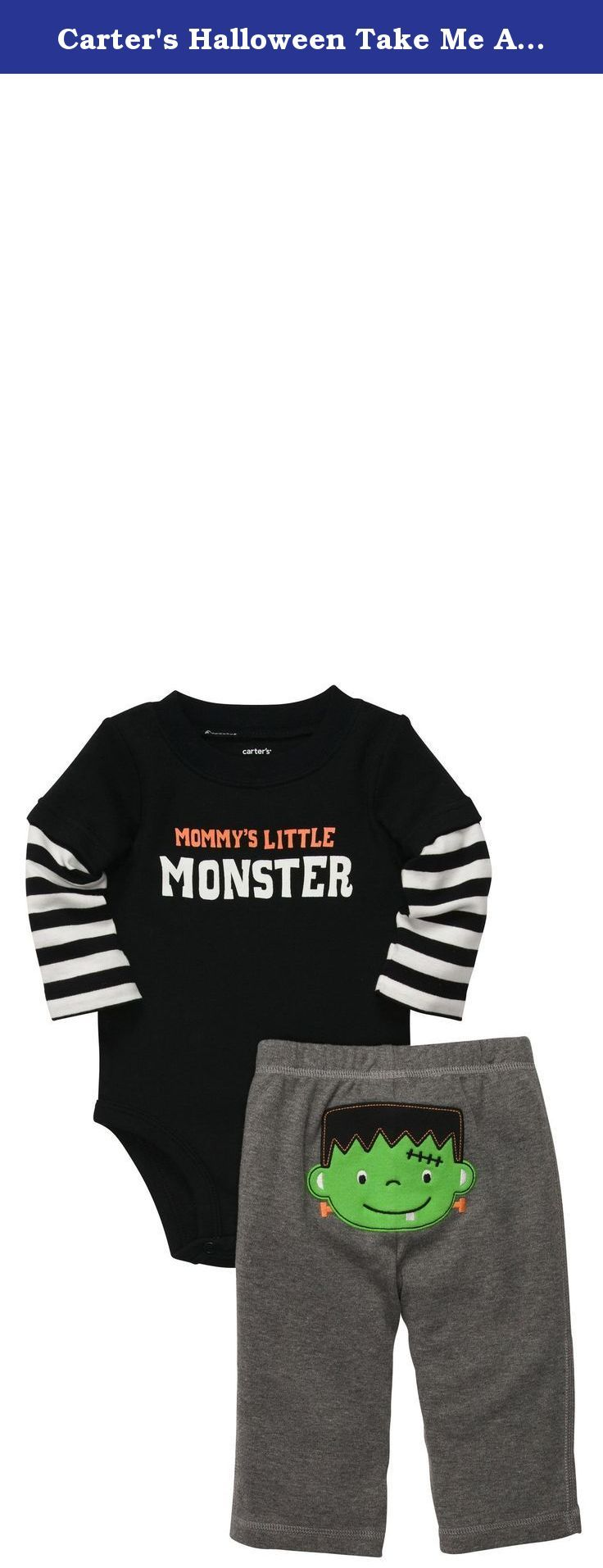 Carter's Halloween Take Me Away 2-pc Set - Black- 6 Months. Carters Halloween Take Me Away 2-pc Set - Black Carter's is the leading brand of children's clothing, gifts and accessories in America, selling more than 10 products for every child born in the U.S. The designs are based on a heritage of quality and innovation that has earned them the trust of generations of families.