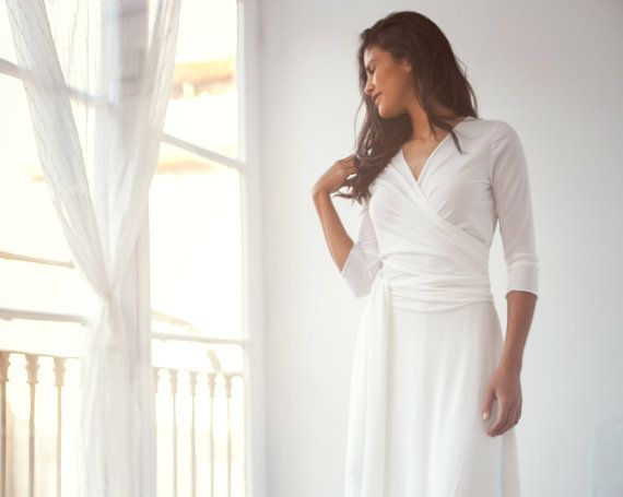 Short wedding dress with sleeves knee-length off white by mimetik
