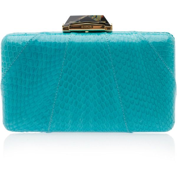 KOTUR Esprey Snakeskin Minaudiere Clutch ($463) ❤ liked on Polyvore featuring bags, handbags, clutches, chain purse, snake skin purse, clasp purse, kotur clutches and hardcase clutch