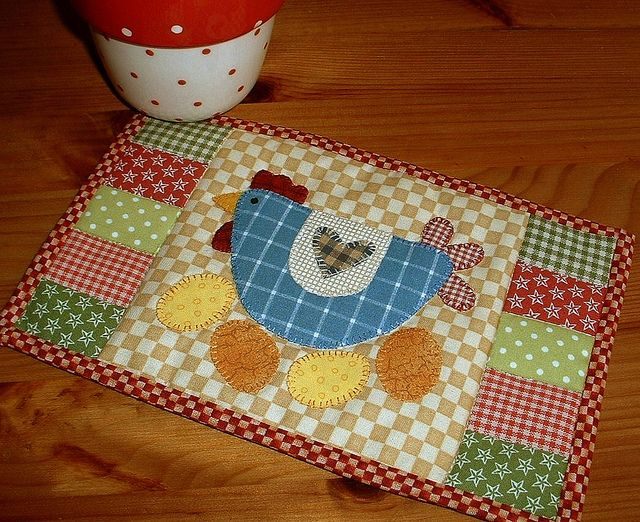 Spring Chicken Mug Rug by The Patchsmith, via Flickr