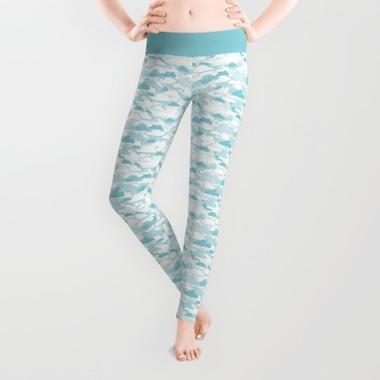 Clouds Leggings - Cloud, clouds, cloudy, weather, stripes, dots, blue, pattern, vector, art, design, illustration, drawing