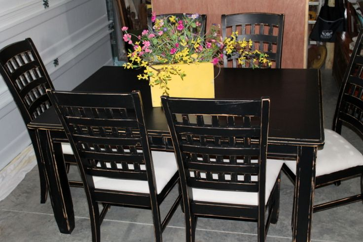 Painted and Distressed Table and Chairs with Drop Cloth Seats, Petticoat Junktion