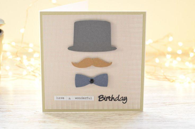 Simple male birthday card | Happy birthday card | Moustache card