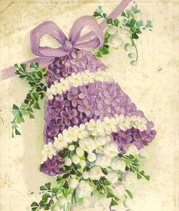 Purple Violets and LilyoftheValley Floral Bell by TheOldBarnDoor, $4.00