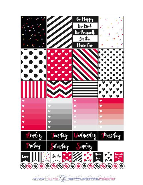 Printable planner stickers.This is a weekly kit of stickers designed for the Erin Condren vertical Life planner. However you can use this weekly kit in other planners like Mambi Happy planner, personal planners, A5, Kikki K etc. All planner stickers artwork is made in Adobe Illustrator after my sketches.This type of digital artwork is called vector meaning my designs are of the highest most crystal clear quality. This is a digital download, no products will be shipped to you...