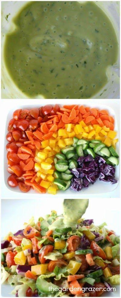 Rainbow Chopped Salad with Creamy Avocado Lemon Basil Dressing (vegan, gluten-free)