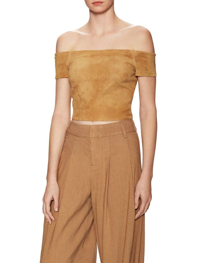 Gracelyn Suede Off The Shoulder Crop Top  from New Markdowns: For Her on Gilt
