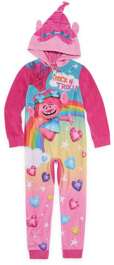 TROLLS Trolls Long Sleeve One Piece Pajama-Big Kid Girls