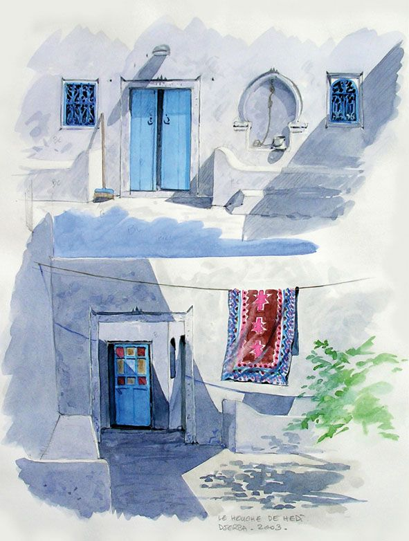 Aquarelle Houche Djerbien 2 (Carnet de voyage)