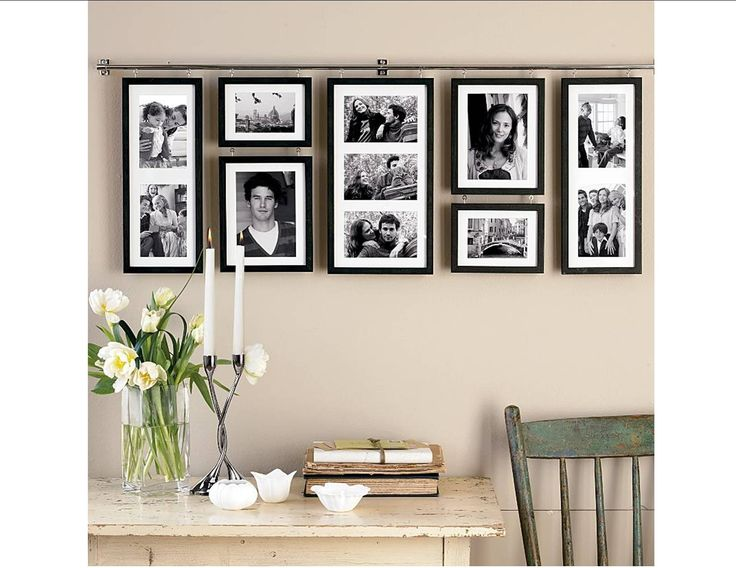 collage picture frames plus wooden table and chair - Picture Frame Design Ideas