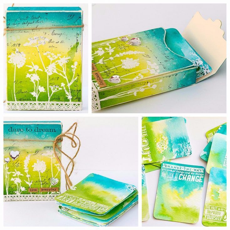 Journaling Card Box Tutorial by Anna-Karin Evaldsson, on the Simon Says Stamp Blog. The Recipe Card Box was made with a Sizzix die by Eileen Hull and stamps by Tim Holtz/Stamper's Anonymous, as well as inks by Ranger Ink were used for both the outside and the journaling cards.