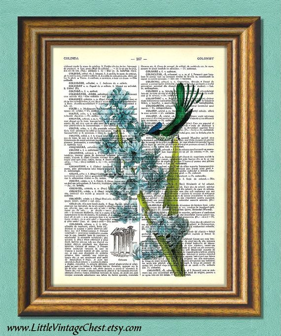 Hyacinth & Hummingbird  Dictionary art print by littlevintagechest, $7.99