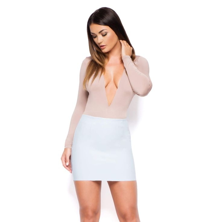 Leatherette Mini skirt with Zip on Back - oh Polly -£25