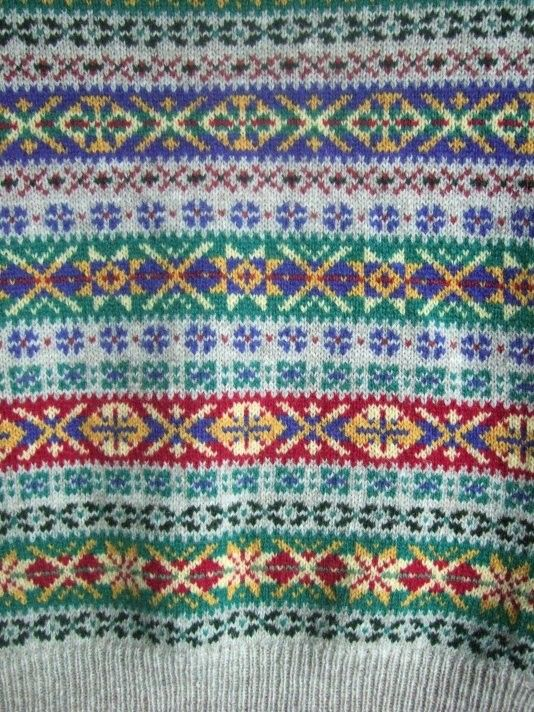 Fair Isle pattern from a great hand-knit sweater creator who actually lives on Shetland Island. Incredibly reasonable prices, too, for them. Look at those colours!
