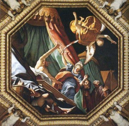 """Leonello Spada, """"Judith and Holofernes,"""" c. 1600, ceiling fresco, Santuario della Madonna della Ghiara, Reggio Emilia, IT"""