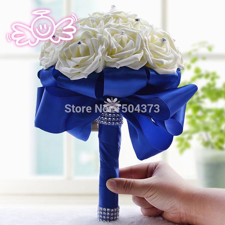 Magazzino royal blue silk rose fiori bouquet da sposa perle artificiali azienda fiore accessori da sposa 2015 immagini reali  (China (Mainland))