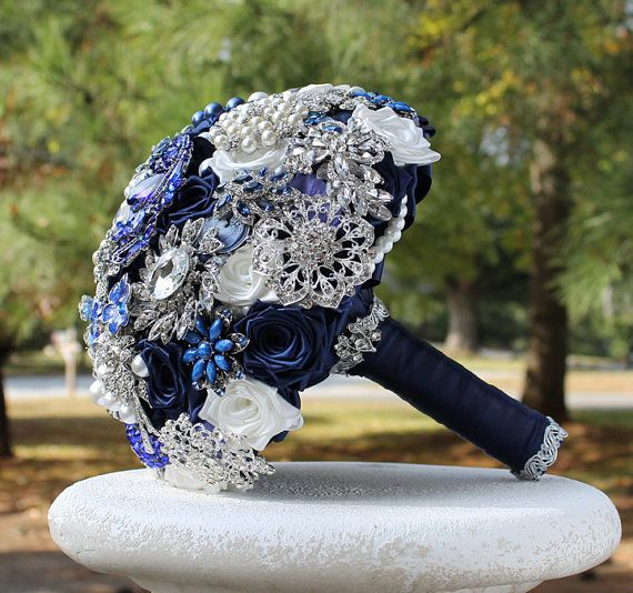 Midnight Blue Wedding Brooch Bouquet. Deposit on a made to order Crystal Heirloom Bridal Broach Bouquet - Thumbnail 1
