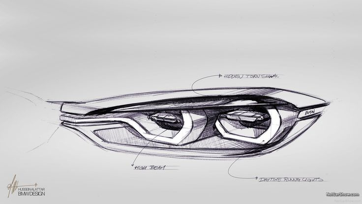 BMW Concept 4 Series Coupe  headlamp sketch by Hussein alattar
