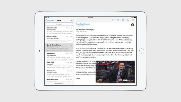 """Pin for Later: 10 Reasons We Can't Freakin' Wait to Use iOS 9  For iPad: """"Picture in Picture scales a video down in size so you can keep watching a TV show while you reply to an email."""""""